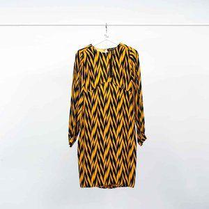 Winter Kate Geometric Print Silk Open Back Dress